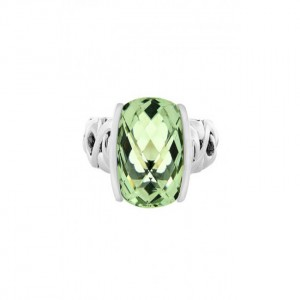 Sterling Silver Fashion Ring With One 10.00X10.00Mm Cushion Green Amethyst And 2=0.05Tw RoundYellow Sapphires Name: Dylani Collection- Green Amethyst Ring Size: 6.5
