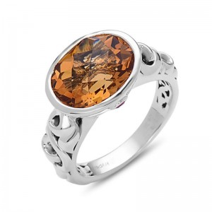 Sterling Silver Fashion Ring With One 12.00X10.00Mm Oval Citrine And 2=0.05Tw Round Rubys Name: Dylani Collection- Citrine Ring Size: 6.5