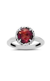 Sterling Silver Fashion Ring With One 8.00Mm Round Garnet