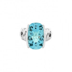 Sterling Silver Fashion Ring With One 10.00X10.00Mm Cushion Cut Blue Topaz Name: Dylani Collection- Blue Topaz Ring Size: 6.5