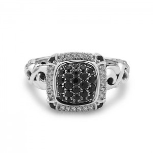 Sterling Silver Fashion Ring With 24=0.12tw Round Diamonds And 28= .52 tw Round Black Sapphires
