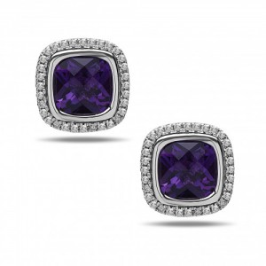 Sterling Silver Stud Earrings With 2=7.00X7.00Mm Cushion Amethysts And 64=0.25Tw Round Diamonds Style Name: Ellah