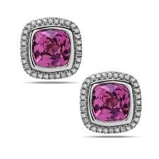 14Kw & Sterling Silver Stud Earrings With 2=3.72Tw Cushion Pink Topazs And 64=0.25Tw Round Diamonds