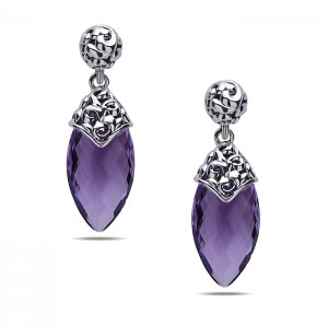 Sterling Silver Earrings With 2=21.00X11.00Mm Briolette Amethysts