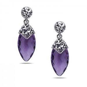 Sterling Silver Earrings With 2=21.00X11.00Mm Briolette Amethysts
