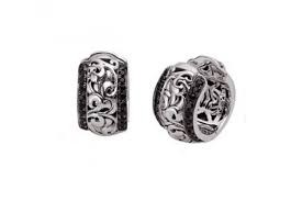 Sterling Silver Filigree Earrings With 40= Round Black Sapphires And 40= RoundWhite Sapphires Style Name: Reversible Huggies