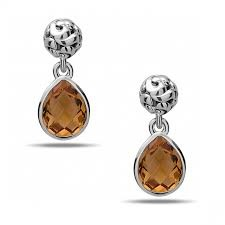 Sterling Silver Filigree Dangle Earrings With 2=10.00X8.00Mm Pear Citrines Style Name: Dylani Collection- Citrine