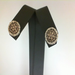 Sterling Silver Stud Earrings With 38=0.80Tw Round Brown Diamonds