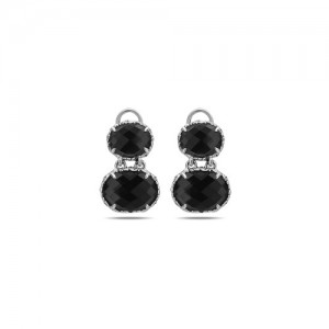 Sterling Silver Filigree Drop Earrings With 2=12.00X10.00Mm OvalWhite Quartz Over Hematites And 2=16.00X12.00mm OvalWhite Qtz Over Hematites Style Name: Skye- Qtz/Hematite