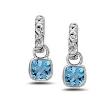 Sterling Silver Filigree J Hook Earrings With 2=8.00X8.00mm Cushion Cut Blue Topazs Style Name: Dylani Collection- Blue Topaz