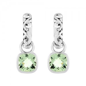 Sterling Silver Ivy J Hook Earrings With 2=8.00X8.00Mm Cushion Green Amethyst