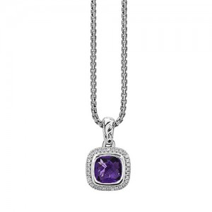 Sterling Silver Pendant With One 7.00X7.00mm Cushion Amethyst And 32=0.12Tw Round Diamonds Style Name: Ellah Style: Round Box Metal: Sterling Silver Length: 17