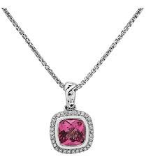 Sterling Silver Pendant With One 1.93Ct Cushion Pink Topaz And 32=0.13Tw Round Diamonds