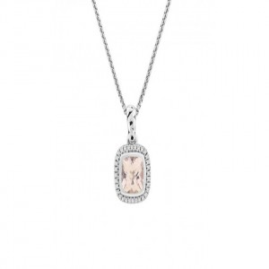 Sterling Silver Pendant With One 7.00X7.00mm Cushion Cut Morganite And 32=0.12Tw Round Diamonds Style Name: Ellah Style: Round Box Metal: Sterling Silver Length: 17
