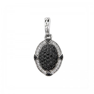 ; Sterling Silver Pendant With 79=0.66Tw Round Black AndWhite sapphires Sapphires Style: Box Metal: Sterling Silver Length: 17