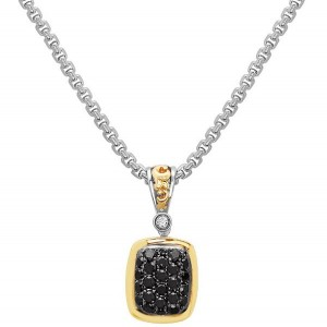 Two-Tone Sterling Silver & 14Ky Pendant With One 0.03Ct Round H/I Vs-Si Diamond And 24=0.60Tw Round Black Diamonds Serial #: 17