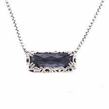Sterling Silver Necklace With One 18.00X6.00mm Rectangle Hematite