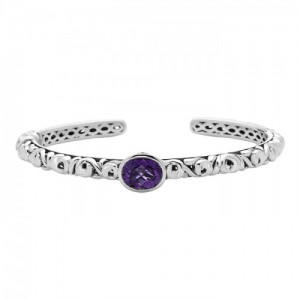 Sterling Silver Cuff Bracelet With One 10.00X8.00mm Oval Amethyst And 2=0.05Tw Round Rubys Style Name: Ivy