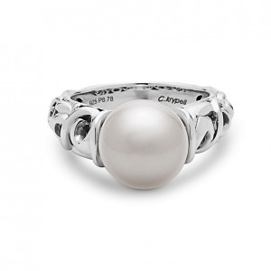 White Sterling Silver Fashion Ring With One 10.50mm Fresh Water Pearl Ring Size: 6.5