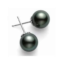 18 Karat White Gold 9 Mm Blk Pearl Studs A+