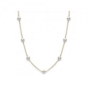 18 Karat Yellow Gold 5.5Mm Pearls On 16 Tin Cup Necklace