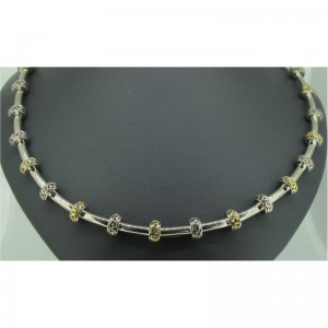 White/Yellow Sterling Silver & 18Ky Length: 18 Name: Ivy Tube Necklace