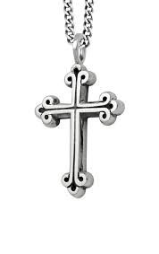 King Baby: Sterling Silver Chain Length: 24 Medium Traditional Cross Pendant