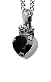 King Baby: Sterling Silver Chain Large Black Onyx Heart Length: 18