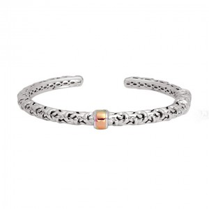 White/Rose Sterling Silver & 18Kr Cuff Bracelet Diameter: 5mm