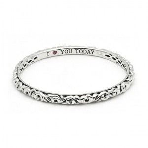 Sterling Silver Filigree Bangle Bracelet With 3=0.04Tw Round Pink Sapphires Name: I Love You Today Diameter: 5mm