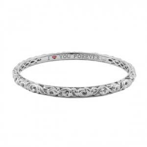 Sterling Silver Filigree Bangle Bracelet With 3=0.04tw Round Pink Sapphires Name: I Love You Forever 63 mm