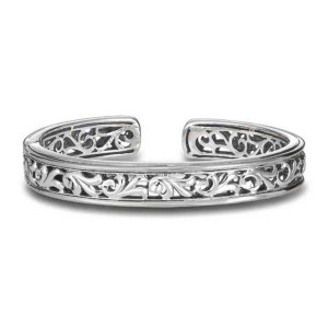 White Sterling Silver Filigree Cuff Bracelet Diameter: 10.5mm