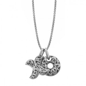 Small Hugs & Kisses Sterling Silver Pendant on 21 adjustable chain