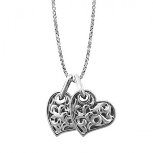 White Sterling Silver Filigree Pendant Charm Type: Largetwo Hearts Beat As One 19Mm