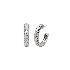 Sterling Silver Filigree Large Hoop Earrings 30x5mm