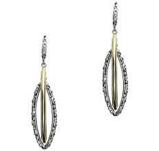 Sterling Silver And 18 KtYellow Gold Double Dangle Marquise Shaped Earrings