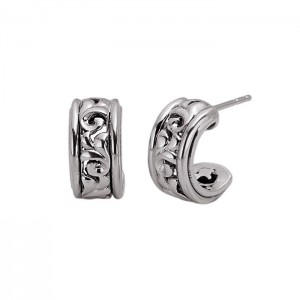 Sterling Silver & 14Kw Filigree Huggie Earrings