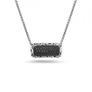 Sterling Silver Necklace With 57=0.93Tw Round Black Sapphires Style Name: 22X10mm Rectanglular 22X10mm Style: Braid Metal: Sterling Silver Length: 17 Adj