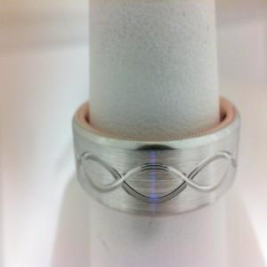 Verragio: 14 Karat White/Rose Gold 7mm Satin Engraved With French Beading Wedding Band  Size 10
