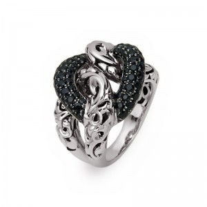 Sterling Silver & 14Kw Fashion Ring With 60=1.93Tw Round Black Sapphires Ring Size: 6.5