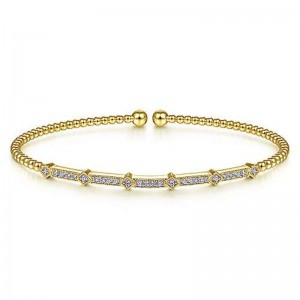Yellow 14 Karat Bracelet With 26=0.20Tw Round Si1-2 Diamonds