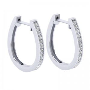 White 14 Karat 20 mm Slim Pave Hoop Earring With 24=0.26Tw Round Si1-2 Diamonds