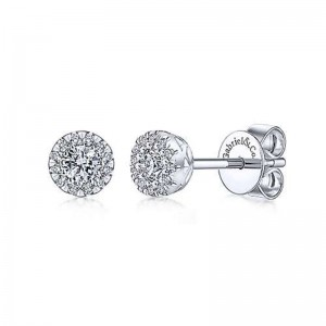 White 14 Karat Earrings With 26=0.24Tw Round Si1-2 Diamonds