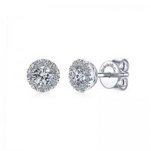 White 14 Karat Earrings With 26=0.48Tw Round Si1-2 Diamonds
