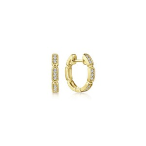 Yellow 14 Karat Earrings With 18=0.12Tw Round Si1-2 Diamonds