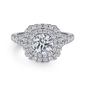 White 14 Karat Semi Mount Ring With 58=0.81Tw Round G/H Si1-2 Diamonds