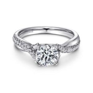 White 14 Karat Semi Mount Ring With 24=0.19Tw Round G/H Si1-2 Diamonds