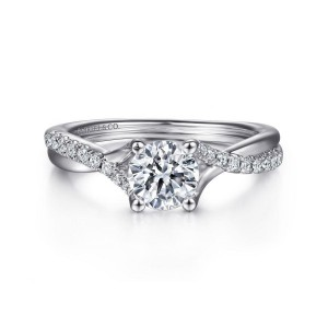 White 14 Karat Semi Mount Ring With 20=0.15Tw Round G/H Si1-2 Diamonds