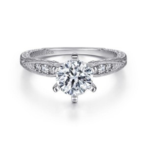 White 14 Karat Semi Mount Ring With 6=0.09Tw Round G/H Si1-2 Diamonds