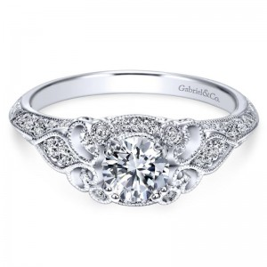 White 14 Karat Semi Mount Ring With 34=0.30Tw Round G/H Si1-2 Diamonds